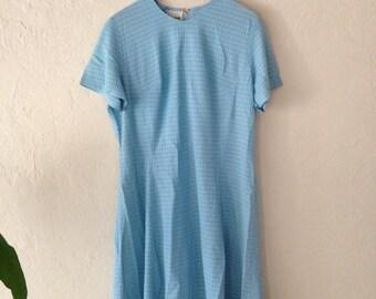 Vintage 60s Blue Dress Size Large