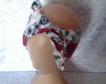 Handmade White And Red Skull And Rose Headband