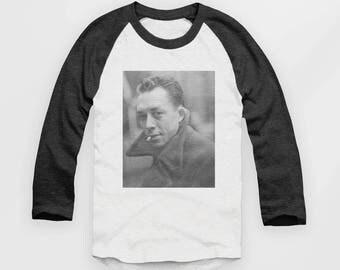 Albert Camus - Vintage Look Baseball Jersey - Raglan Top, Art , Cool, Philosophy - T Shirt #ootd #instafashion - S M L XL