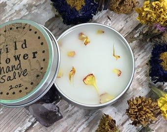 2 oz Wildflower hand salve, Hand balm, Botanical salve,Floral hand salve, wildflower natural salve, solid perfume, Floral scent, handmade
