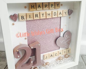 rose gold 16th 18th 21st 30th 40th birthday personalised box frame photo frame happy - Etsy Frames