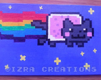 Pixel art cat Nyan Cat Rainbow painting