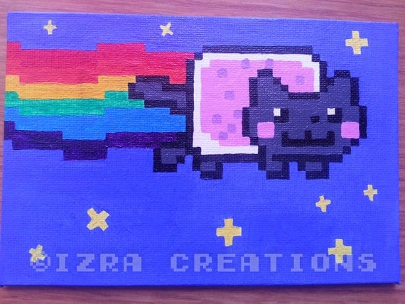 tableau peinture pixel art chat nyan cat arc en ciel. Black Bedroom Furniture Sets. Home Design Ideas