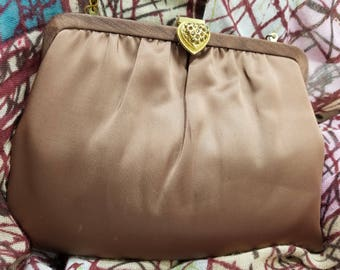 Classic Chocolate Brown Satin Evening Clutch/Handbag with Decorative Clasp and Hidden Chain