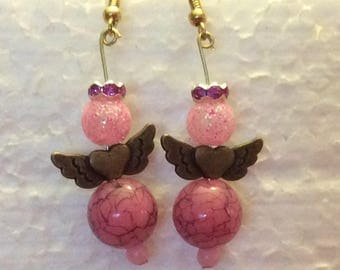 Angel earrings,beaded hand made earrings,heavenly earrings,angel jewelry,dangle earrings