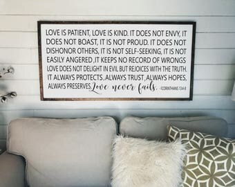 Love is Patient Love is Kind - 1 Corinthians 13:4-8 Sign | Wooden Framed Sign | Scripture | Fixer Upper| Wood Signs | Wall Decor