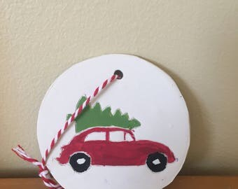 Vintage Car with Tree Ornament