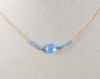 Necklace chain gold plated end and blue chalcedony