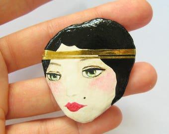 Art Deco Brooch, Handmade Paper mache Jewelry, Charleston brooch pin, Doll portrait brooch, unique Art Jewelry, 30s Brooch