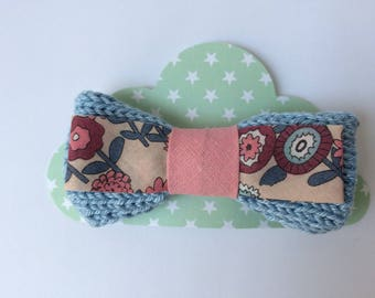 pastel blue girl with floral fabric hair clip