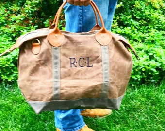 Waxed Canvas Weekender Bag | Monogrammed Duffel | Graduation | Father's Day | Anniversary | Gift For Traveler | Leather | Personalized