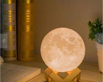 luna Moon, -> 3D Print moon, Moon LED Nightlight Touch Control, USB Charging Desk Lamp, home decor, touch, handmade lamp