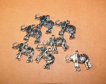 x 10 pendant / charm silver tone 26 elephant * 22 * 4mm