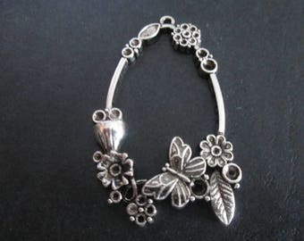Silver large butterfly and flower metal pendant 55 x 34 mm
