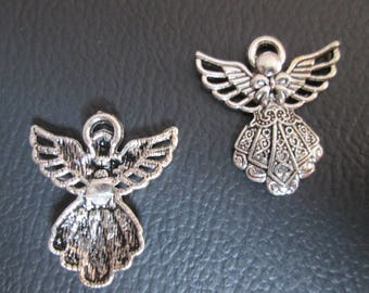 2 charms silver plated Angel pendant 26 mm x 24 mm