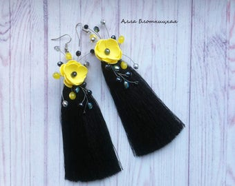 Earrings with blossoms. Silk earrings. Black earrings. . Wedding jewelry. long earrings. Earrings for the holiday