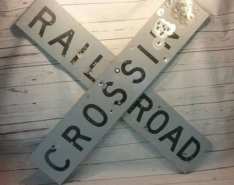 Vintage Large Railroad Crossing Sign Crossbuck With Character Genuine Railroad Decor