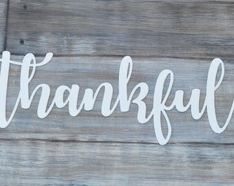 Thankful word cut out