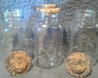 Hand-Turned Lids w/ Quart Jars  (Set of 3)
