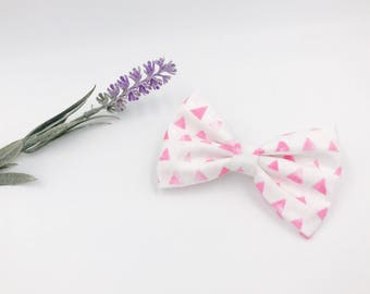 Baby Girl Bow Headband - Nylon Headbands - Hair clip - Infant / Toddler /  Fabric Hair Bows / Clips - pink triangles - light pink