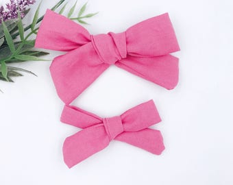 Baby Girl hand tied Bow - Nylon Headbands - Hair clip - Infant / Toddler /  Fabric Hair Bows / Clips -  pink mauve rose