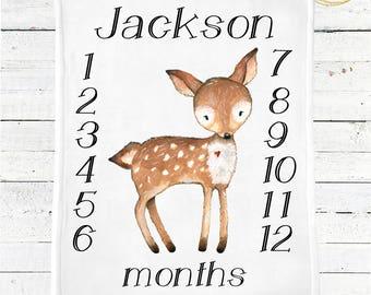 Deer Baby Blanket Boy / Woodland Themed Nursery / Boho Baby Blanket / Woodland Baby Blanket / Woodland Themed Baby Shower / Woodland Nursery