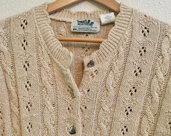 Vintage Women's Sweater with Silver Heart Buttons