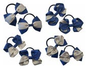 Grey and navy blue grosgrain ribbon hair bows on thick bobbles, girls ribbon school bows, thick hair elastic, navy and grey hair accessories