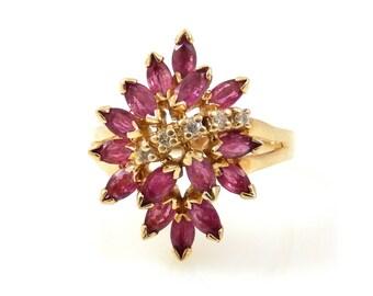 Ruby Cluster & Diamond Ring 10K Gold - X4360