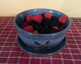 Floating blue pottery berry bowl,  pottery berry bowl, pottery colander,  ceramic berry bowl,  pottery bowl, colander