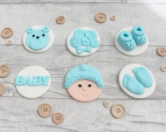 Baby boy edible cupcake toppers, baby girl shower cupcake decorations, new baby, fondant christening decorations, edible baby toppers