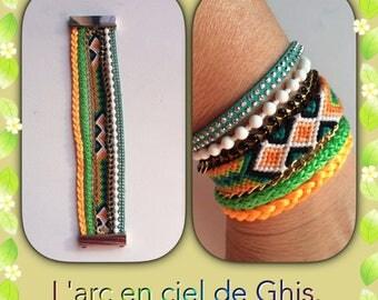 Cuff Bracelet with friendship bracelet.