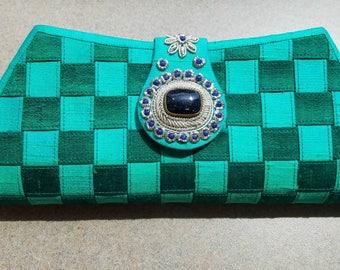 Clutch, Teal clutch, zardozi clutch, zardozi evening bag, semi precious stone, woven clutch,  India, gifts for her