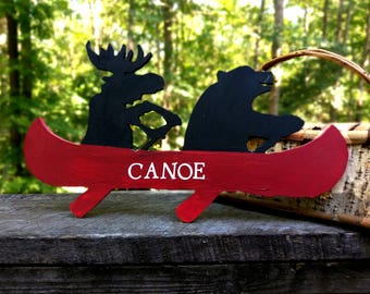 Cabin Decor Bear and Moose on Canoe Cutout