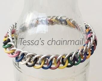 Rainbow bracelet, rainbow rubber bracelet, mix half persian bracelet, multi colour bracelet, stretchy bracelet, Tessa's chainmail