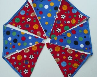 Boy's Sports Bunting, Ready To Post.Handmade.Royal Blue & Red Bunting. Football,Rugby,Baseball.