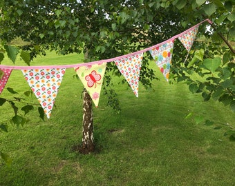Flowers and bug friends luxury bunting - pink and yellow