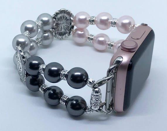 "Apple Watch Band, Women Bead Bracelet Watch Band, iWatch Strap, Apple Watch 38mm, 42mm, Pink Silver Black Swarovski Pearl Size 7 1/4"""