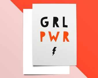 Girl Pwr Birthday Card * Girl Power Card Printable, Feminism Card Printable, Birthday Card for Her, Feminist Birthday Card, Funny BFF Card