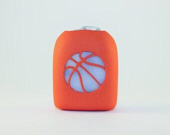 Clip-On Omnipod Pod Cover - Basketball