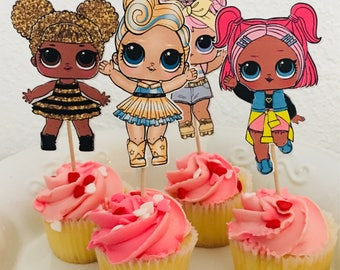LOL cupcake toppers | LOL dolls centerpieces | LOL party decor