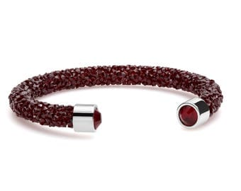 Ruby Red Shimmering Crystal Cuff Bracelet with Swarovski Elements in Stainless Steel