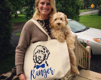 Personalized Dapper Doodle Canvas Jumbo Tote Bag with Bow Tie