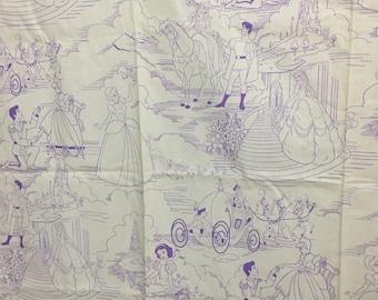 Disney Princess w/ Glitter Fabric YARDAGE featuring Belle, Snow White, & Cinderella