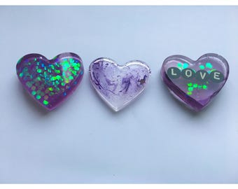 Resin Heart Cabochons