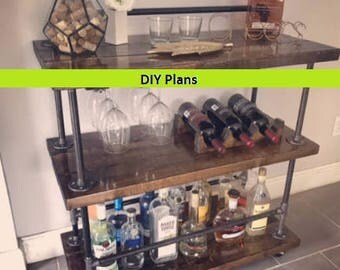DIY Industrial Bar Cart Plans - Easy to Follow - YOU Can Build This!!