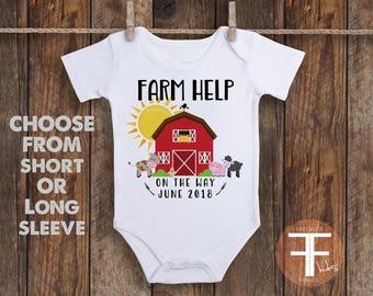 Farm Help Onesie, Pregnancy Reveal Onesie, Pregnancy Reveal to Husband, Pregnancy Reveal to Grandparents, Pregnancy Announcement Onesies