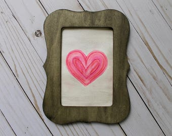 Watercolor Heart with Frame