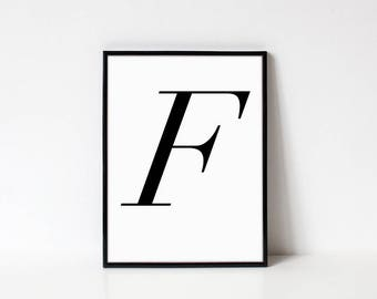 Scandinavian Printable Letter Print, Letter F, Black and White Typography Art