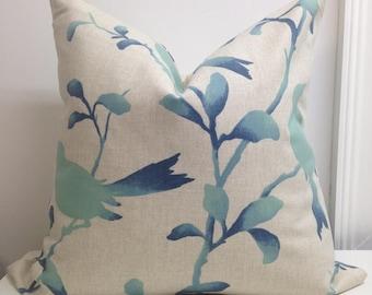 Zipper pillow covers Bird pillow covers Decorative Pillow Throw pillow cover lumbar Blue Aqua tan 18x18 20x20 22x22 24x24 26x26